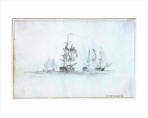Action with Capt Edward Pellew in La Nymph, 1803 by Nicholas Pocock