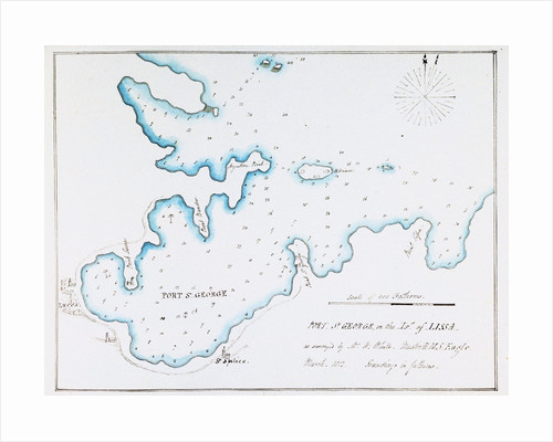 Map of Port St George in the Island of Lissa as surveyed by Mr W White, Master HMS 'Eagle', March 1812 by William Innes Pocock