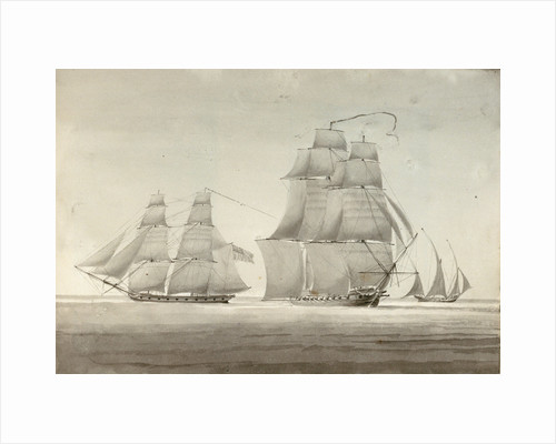 HMS 'Menelaus' and 'Eclair' with a settee by William Innes Pocock