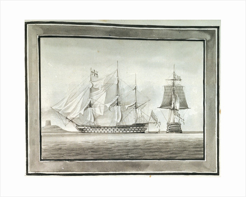 HMS 'Caledonia' in two positions by William Innes Pocock