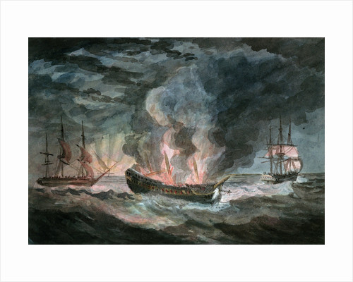 Fighting vessel blowing up at sea, with two others nearby by D. Tandy