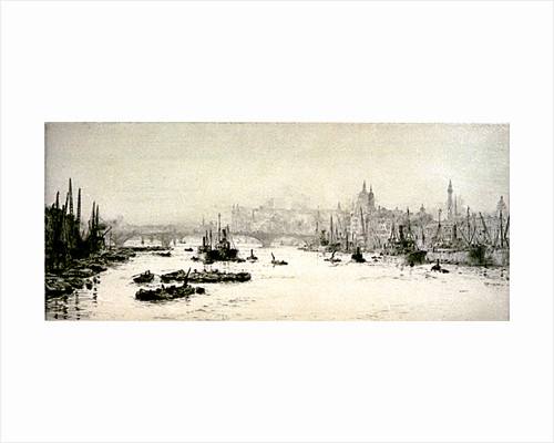 Below London Bridge, Hay's Wharf and the Monument by William Lionel Wyllie