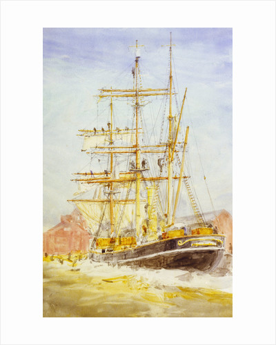 'Discovery' bending sails by William Lionel Wyllie