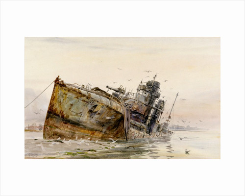 'V82 German Destroyer in Fountain Lake' by William Lionel Wyllie by William Lionel Wyllie