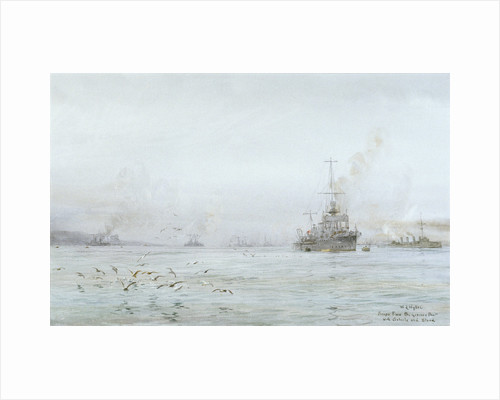 The interned German High Seas Fleet at Scapa Flow, with HMS 'Carlisle' and 'Blonde' by William Lionel Wyllie