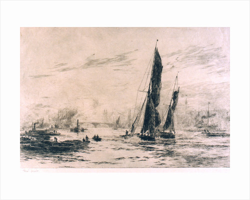 Barge and other craft on the river. 2. Trial proof by William Lionel Wyllie
