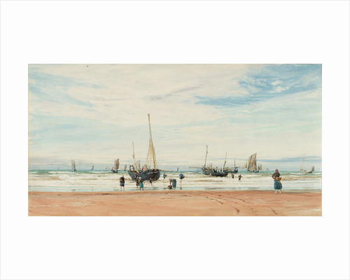 Fishing boats near a beach by William Lionel Wyllie