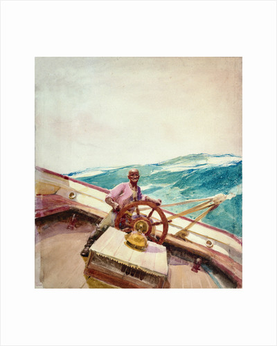 Negro at the wheel of a sailing vessel by John Fraser
