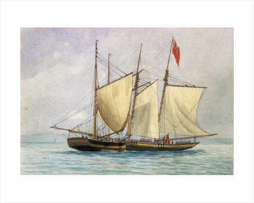 'Captain H Wolman with HM 80th Foot capturing the Notorious Pirate Schooner Hanna Mercury Isld Oct 26th 1843'. by unknown