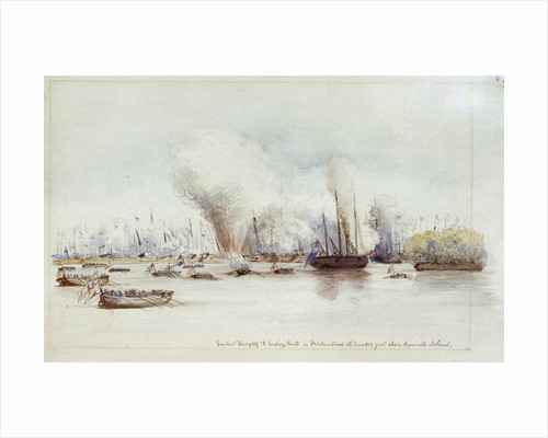 Gun boat Haughty & leading boats in Fatcham Creek 1st June 1857 just above Hyacinth Island by unknown