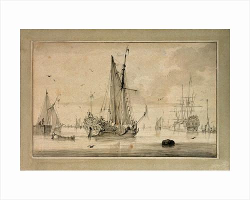 A Dutch yacht leaving the shore in a light air by Wigerus Vitringa