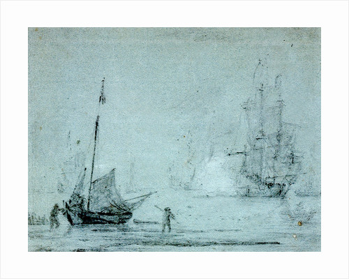 A fishing vessel ashore with fishermen casting a net by Samuel Scott