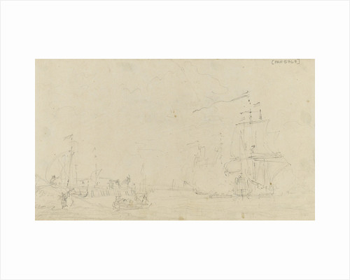 Sketch of a small sailing vessel saluting near the shore by Samuel Scott