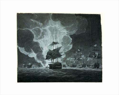 Fleet with a ship on fire by Robert Cleveley