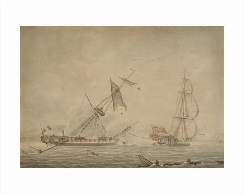 'La Blanche' towing 'La Pique', a French prize, 1795 by Robert Dodd