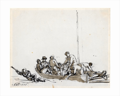 Sailors in a boat rescuing survivors by John Thomas Serres