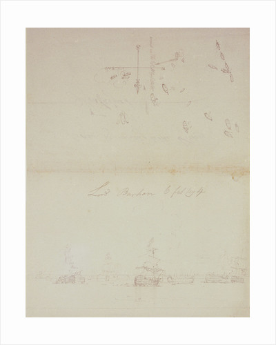 The Battle of Trafalgar, 21 October 1805; sketch and plan for a painting of the dismasted 'Victory',  for Lord Barham by Nicholas Pocock