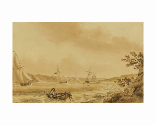 Cutters under sail in a river, probably the Bristol Avon by Nicholas Pocock