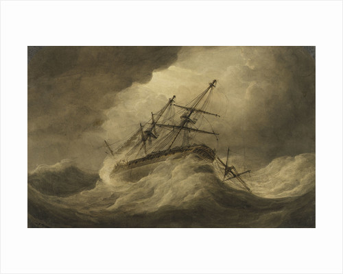 Attempt to Veer' in a stormy sea, illustration to Falconer's 'The Shipwreck by Nicholas Pocock