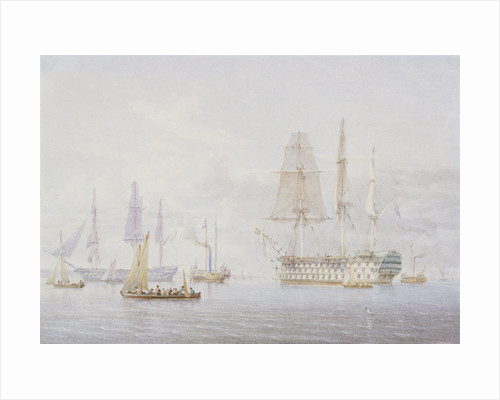 'Vanguard', 'St Vincent' and a Royal Yacht at Spithead, 1850s by William Joy