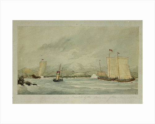 Attack on Chinese Pirates by the pinnace of HMS 'Druid', 1842 by Admiral M. O'Reilly