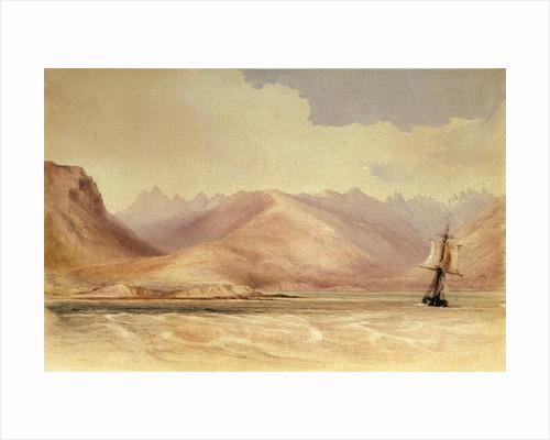 The survey ship HMS 'Beagle' in Beagle Channel, South America by Conrad Martens