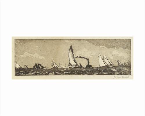 Yachts at sea, also a steamer by Herbert Barnard John Everett