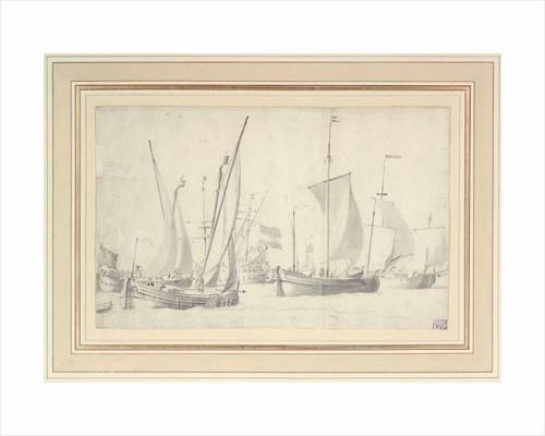 Two schmalschips and two hookers in a moderate breeze by Willem van de Velde the Elder