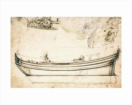Sketch sheer plan by Willem Van de Velde the Younger