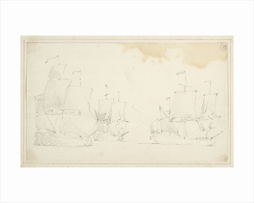 Three English ships in stays by Willem Van de Velde the Younger