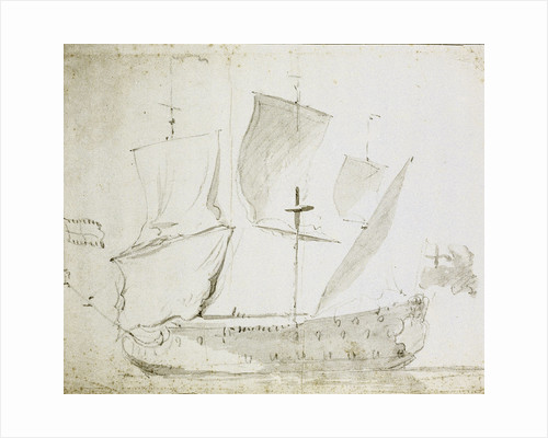 A Guinea merchant ship drying sails by Willem Van de Velde the Younger