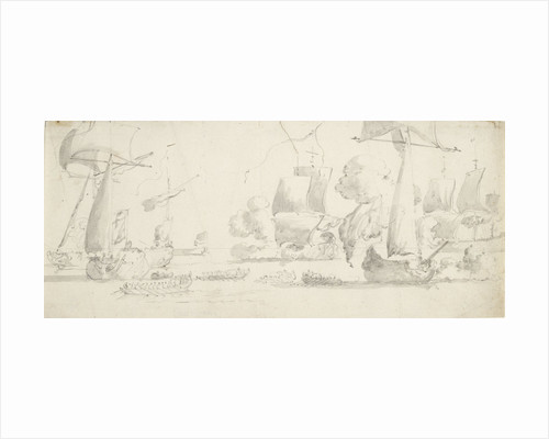 Ships and yachts saluting as barges pull away by Willem van de Velde the Elder