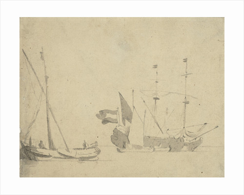 A boeier at a pier and a Dutch ship at anchor by Willem Van de Velde the Younger