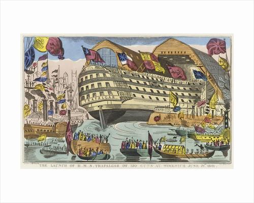 The launch of HMS 'Trafalgar' of 120 guns at Woolwich, 21 June 1841 by J. Fairburn