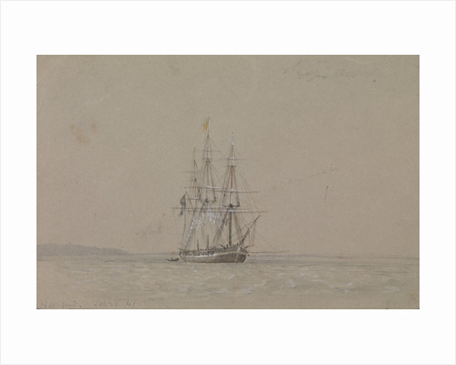 HMS 'Hazard', 20 September 1841, flying a yellow quarantine flag, with notes by Oswald Walter Brierly
