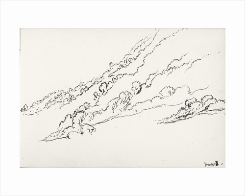Sketch of hilly wooded landscape (on reverse and inverted) by John Brett