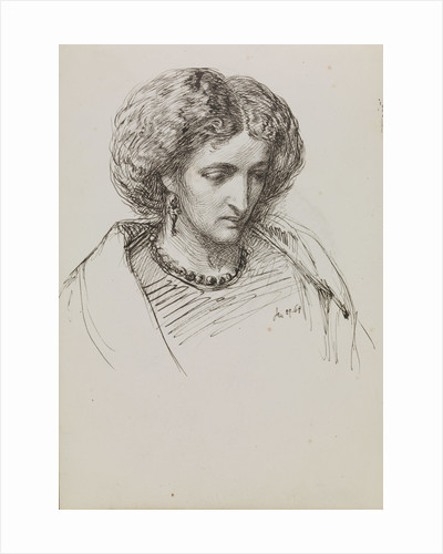 Head and shoulders portrait sketch of woman with eyes downcast by John Brett