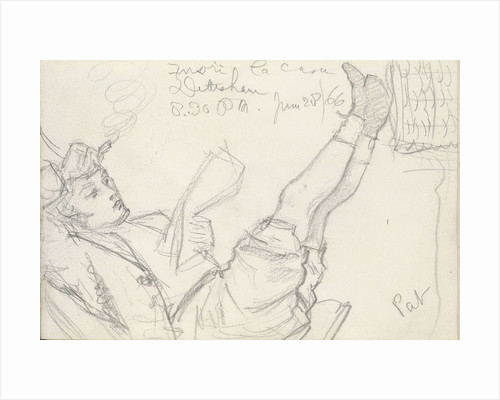 Sketch of a boy, Pat, reclining, reading with his feet up by John Brett