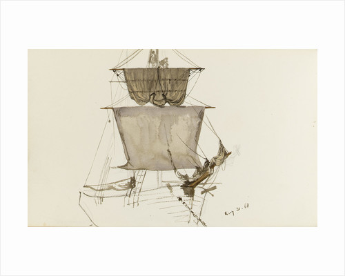 Sketch of sailing vessel with square sails - unfinished (on reverse) by John Brett