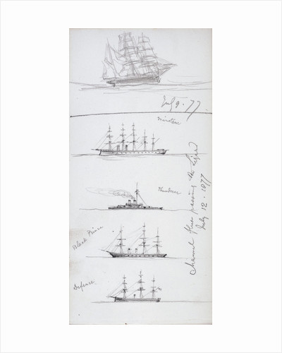 Sketch of a barque and sketches of HMS 'Minotaur', 'Thunderer', 'Black Prince', 'Defence' by John Brett