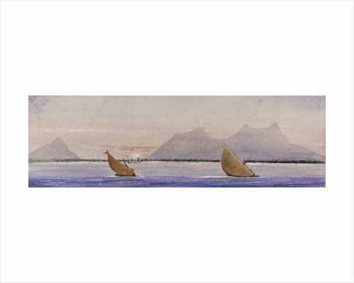 Coastal view with sailing vessels by Harry Edmund Edgell