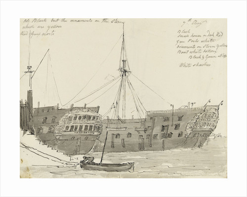 Two prison hulks at quayside by John Grieve