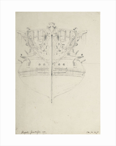 The bow of the 'Royal Sovereign' (1701) by Willem Van de Velde the Younger