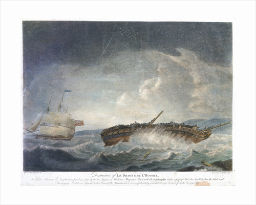 Destruction of Le Droits de L'Homme... Frigates in Hodierne Bay near Brest, with the 'Indefatigable' (1784)... throwing up rockets... 13 Jan 1797 by Robert Dodd