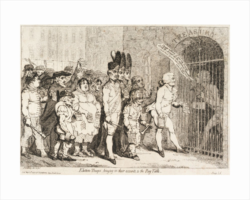 Election - Troops, bringing in their accounts to the Pay-Table (sailors voting for Lord Hood) by James Gillray