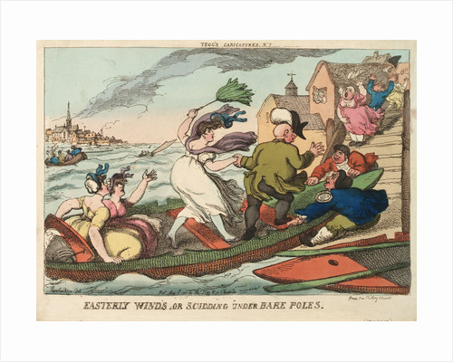 Tegg's Caricatures No.2. Easterly Winds, or Scudding Under Bare Poles by Thomas Rowlandson
