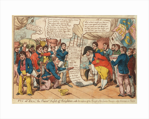 Fun at Sea - the Sham Fight off Brighton with the capture of the Knight of the Larder Privateer - or the Alderman in Chains (Sir William Curtis and Prince Regent) by Johnston