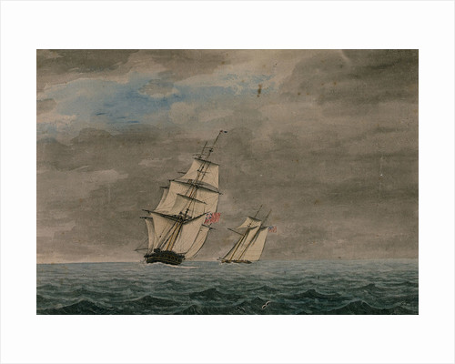 Andromache' chasing Yankee schooner by George Tobin