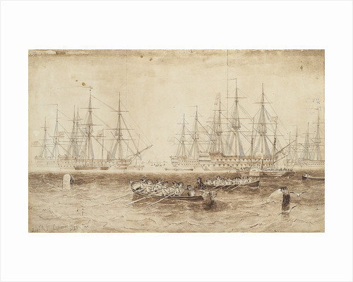 Row boats pulling towards the Baltic fleet by John Wilson Carmichael
