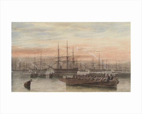The Baltic fleet at night with ship's boats in the foreground by John Wilson Carmichael